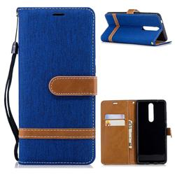 Jeans Cowboy Denim Leather Wallet Case for Nokia 5.1 - Sapphire