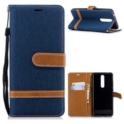 Jeans Cowboy Denim Leather Wallet Case for Nokia 5.1 - Dark Blue