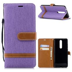 Jeans Cowboy Denim Leather Wallet Case for Nokia 5.1 - Purple
