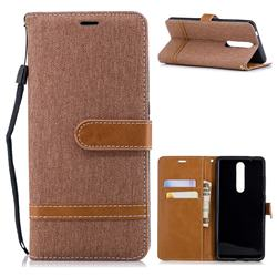 Jeans Cowboy Denim Leather Wallet Case for Nokia 5.1 - Brown