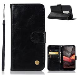 Luxury Retro Leather Wallet Case for Nokia 5.1 - Black