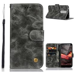 Luxury Retro Leather Wallet Case for Nokia 5.1 - Gray