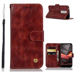 Luxury Retro Leather Wallet Case for Nokia 5.1 - Wine Red