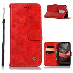 Luxury Retro Leather Wallet Case for Nokia 5.1 - Red