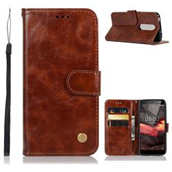 Luxury Retro Leather Wallet Case for Nokia 5.1 - Brown