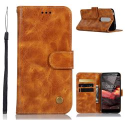 Luxury Retro Leather Wallet Case for Nokia 5.1 - Golden