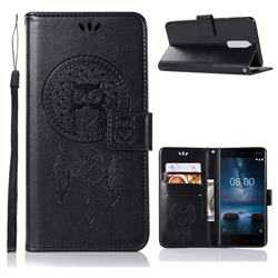 Intricate Embossing Owl Campanula Leather Wallet Case for Nokia 5.1 - Black
