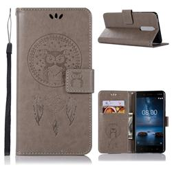 Intricate Embossing Owl Campanula Leather Wallet Case for Nokia 5.1 - Grey