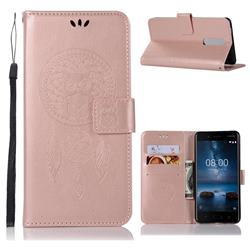 Intricate Embossing Owl Campanula Leather Wallet Case for Nokia 5.1 - Rose Gold