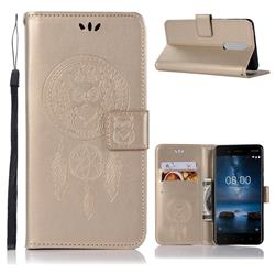 Intricate Embossing Owl Campanula Leather Wallet Case for Nokia 5.1 - Champagne