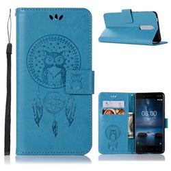 Intricate Embossing Owl Campanula Leather Wallet Case for Nokia 5.1 - Blue