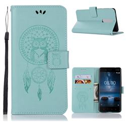 Intricate Embossing Owl Campanula Leather Wallet Case for Nokia 5.1 - Green