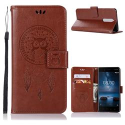 Intricate Embossing Owl Campanula Leather Wallet Case for Nokia 5.1 - Brown