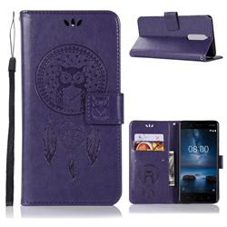 Intricate Embossing Owl Campanula Leather Wallet Case for Nokia 5.1 - Purple