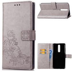 Embossing Imprint Four-Leaf Clover Leather Wallet Case for Nokia 5.1 - Grey