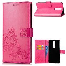Embossing Imprint Four-Leaf Clover Leather Wallet Case for Nokia 5.1 - Rose