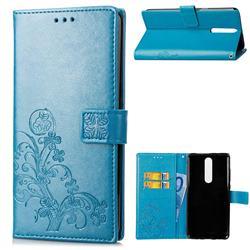 Embossing Imprint Four-Leaf Clover Leather Wallet Case for Nokia 5.1 - Blue