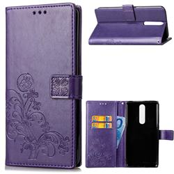 Embossing Imprint Four-Leaf Clover Leather Wallet Case for Nokia 5.1 - Purple