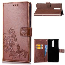 Embossing Imprint Four-Leaf Clover Leather Wallet Case for Nokia 5.1 - Brown
