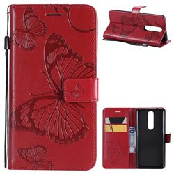 Embossing 3D Butterfly Leather Wallet Case for Nokia 5.1 - Red
