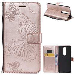 Embossing 3D Butterfly Leather Wallet Case for Nokia 5.1 - Rose Gold