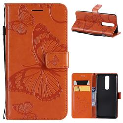 Embossing 3D Butterfly Leather Wallet Case for Nokia 5.1 - Orange