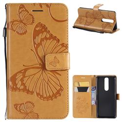 Embossing 3D Butterfly Leather Wallet Case for Nokia 5.1 - Yellow