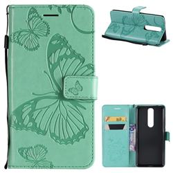 Embossing 3D Butterfly Leather Wallet Case for Nokia 5.1 - Green