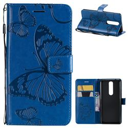 Embossing 3D Butterfly Leather Wallet Case for Nokia 5.1 - Blue