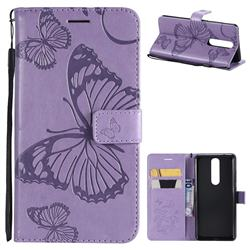 Embossing 3D Butterfly Leather Wallet Case for Nokia 5.1 - Purple