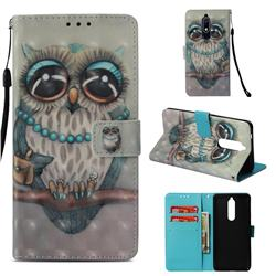 Sweet Gray Owl 3D Painted Leather Wallet Case for Nokia 5.1