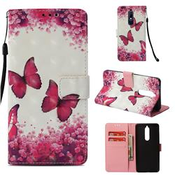 Rose Butterfly 3D Painted Leather Wallet Case for Nokia 5.1