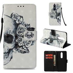 Skull Flower 3D Painted Leather Wallet Case for Nokia 5.1