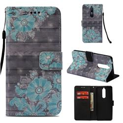Blue Flower 3D Painted Leather Wallet Case for Nokia 5.1