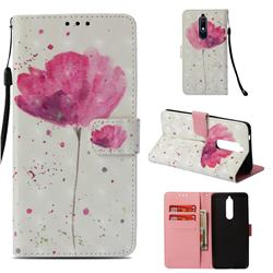 Watercolor 3D Painted Leather Wallet Case for Nokia 5.1