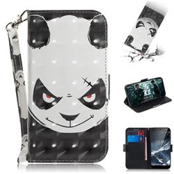 Angry Bear 3D Painted Leather Wallet Phone Case for Nokia 5.1