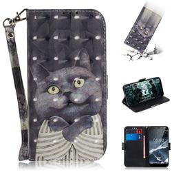 Cat Embrace 3D Painted Leather Wallet Phone Case for Nokia 5.1