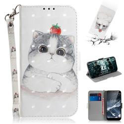 Cute Tomato Cat 3D Painted Leather Wallet Phone Case for Nokia 5.1
