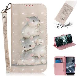 Three Squirrels 3D Painted Leather Wallet Phone Case for Nokia 5.1