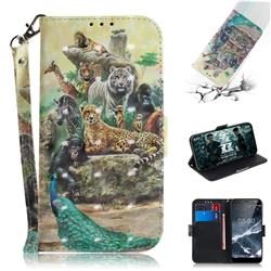 Beast Zoo 3D Painted Leather Wallet Phone Case for Nokia 5.1