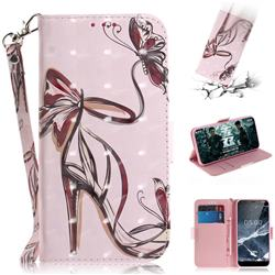 Butterfly High Heels 3D Painted Leather Wallet Phone Case for Nokia 5.1