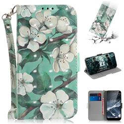 Watercolor Flower 3D Painted Leather Wallet Phone Case for Nokia 5.1