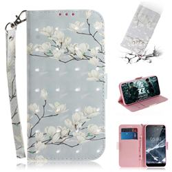Magnolia Flower 3D Painted Leather Wallet Phone Case for Nokia 5.1