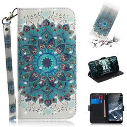 Peacock Mandala 3D Painted Leather Wallet Phone Case for Nokia 5.1