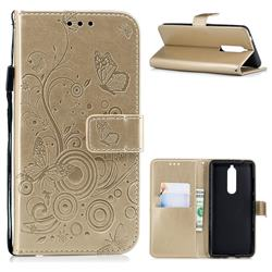 Intricate Embossing Butterfly Circle Leather Wallet Case for Nokia 5.1 - Champagne