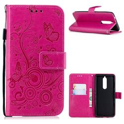 Intricate Embossing Butterfly Circle Leather Wallet Case for Nokia 5.1 - Red