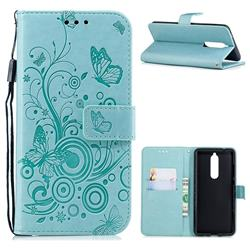 Intricate Embossing Butterfly Circle Leather Wallet Case for Nokia 5.1 - Cyan
