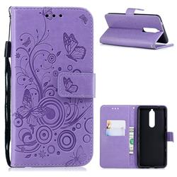 Intricate Embossing Butterfly Circle Leather Wallet Case for Nokia 5.1 - Purple