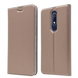 Ultra Slim Card Magnetic Automatic Suction Leather Wallet Case for Nokia 5.1 - Rose Gold