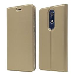 Ultra Slim Card Magnetic Automatic Suction Leather Wallet Case for Nokia 5.1 - Champagne